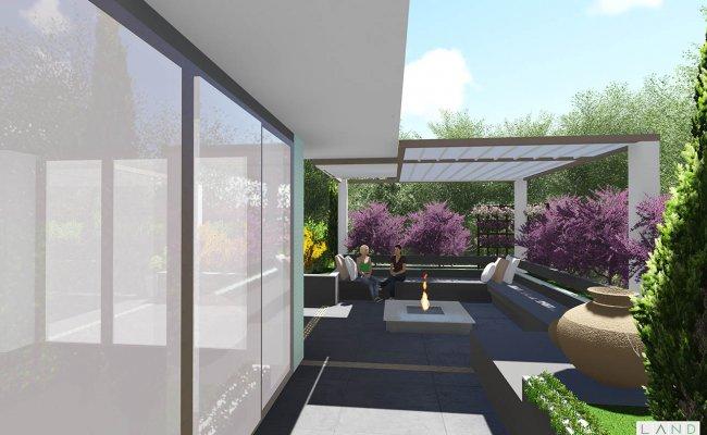 تراس آپارتمان خانواده گیدفر – باغ بام و تراس – لند استودیو